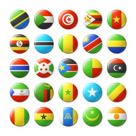 banderas del mundo: Indicadores del mundo insignias redondas, imanes. África. Vectores