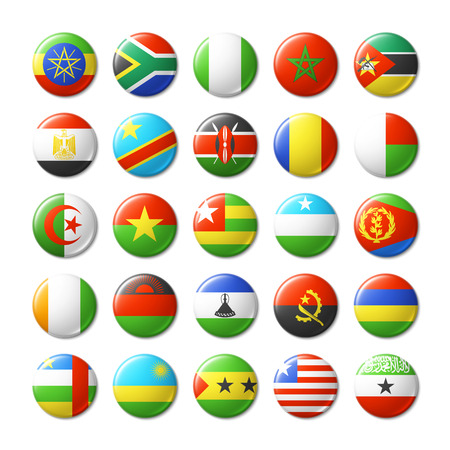 World flags round badges, magnets. Africa.