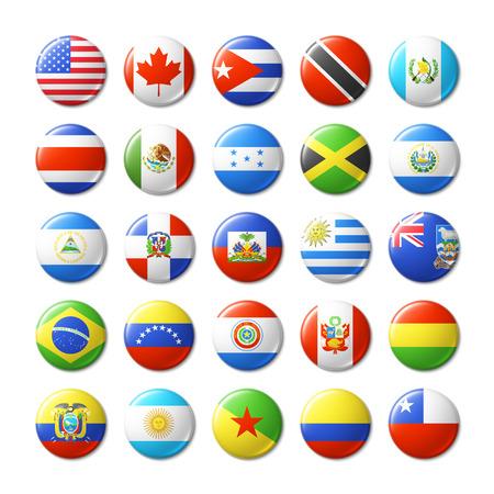 Świat flagi okrągłe plakietki, magnesy. Ameryka Północna i Południowa.