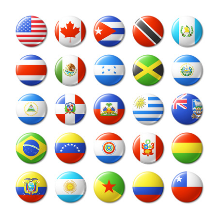 united states flag: World flags round badges, magnets. North and South America.