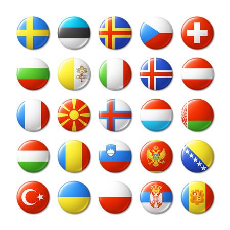 Indicadores del mundo insignias redondas, imanes. Europa. Foto de archivo - 38816142