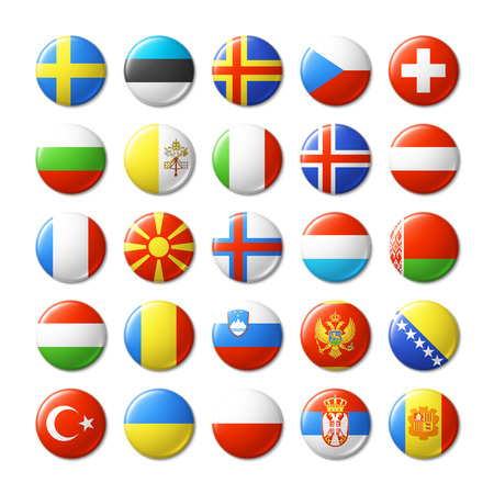 bandera de suecia: Indicadores del mundo insignias redondas, imanes. Europa. Vectores