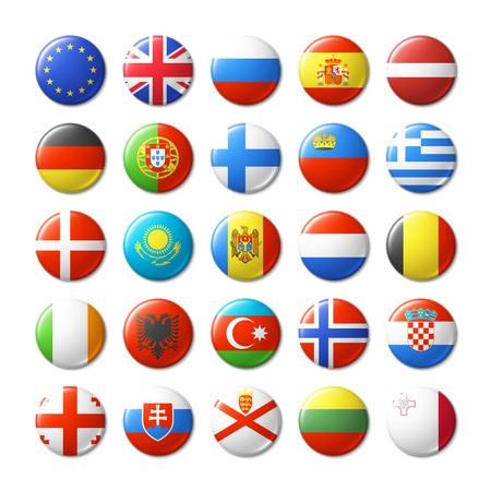 ikony: Świat flagi okrągłe plakietki, magnesy. Europa.