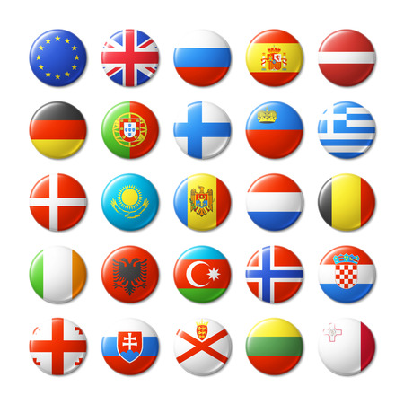 button icons: World flags round badges, magnets. Europe.