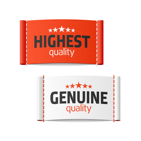Highest and genuine quality clothing labels Vector