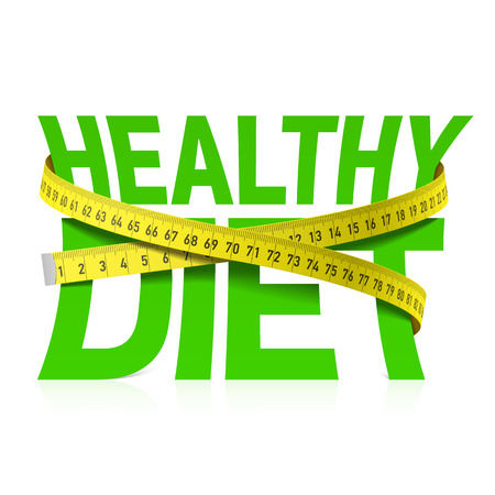 Healthy diet phrase with measuring tape concept Vettoriali