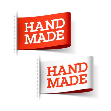sew: Etiquetas rojas y blancas hechas a mano