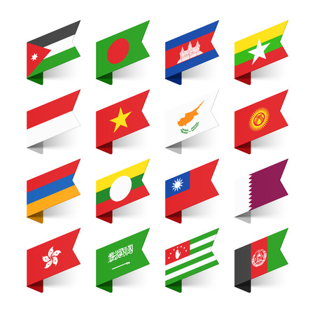 Flags of the World, Asia, set 3 Vector