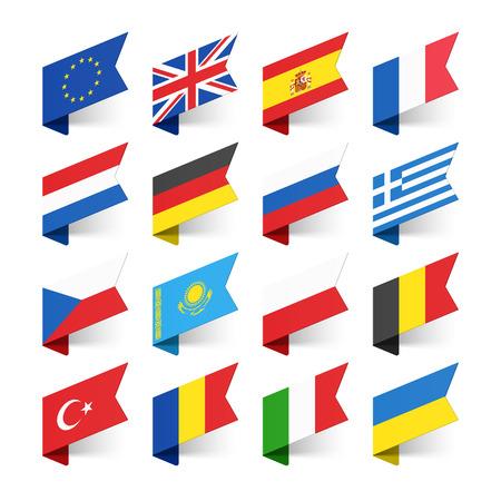Flags of the World, Europe, set 1 Stock Illustratie