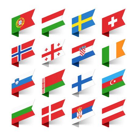 krajina: Vlajky světa, Evropy, sada 2 Ilustrace