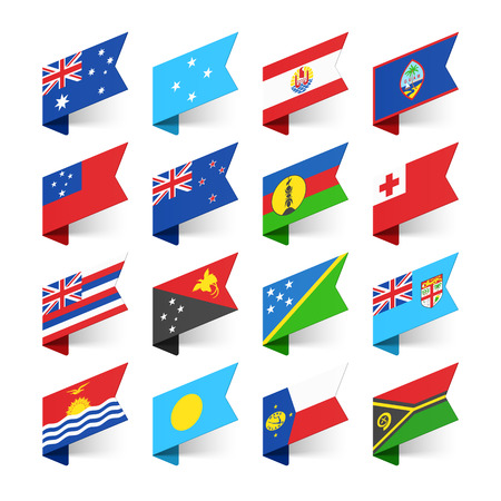 země: Vlajky světa, Australasie Ilustrace