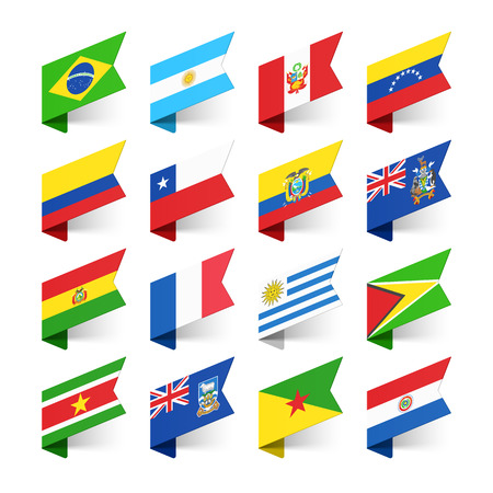 flag of chile: Banderas del Mundo, Am�rica del Sur Vectores