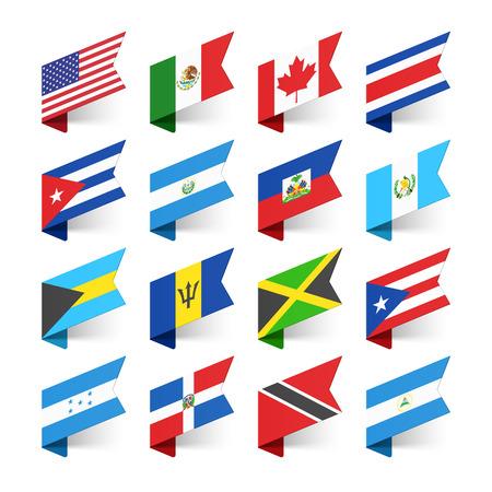 世界の国旗。北アメリカ。
