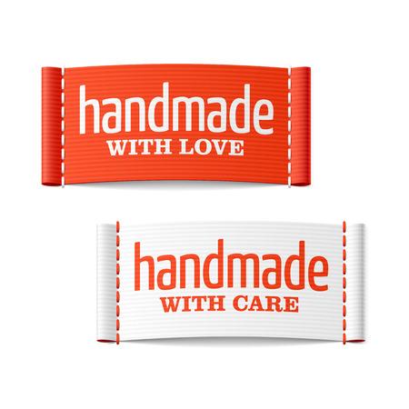 etiqueta: Hecho a mano con amor y cuidado de las etiquetas Vectores