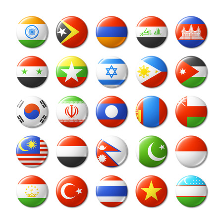World flags round badges magnets. Asia. Vector