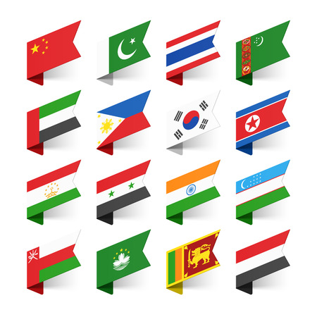 Flags of the World Asia set 1. Ilustração