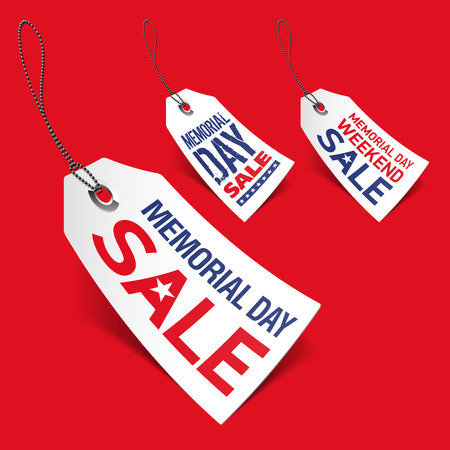 cut price: Memorial Day sale tags Illustration
