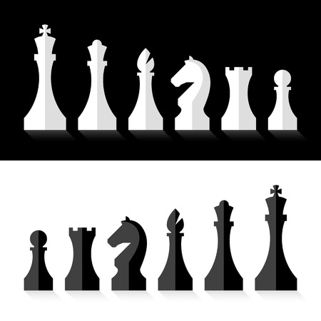chess board: Black and white chess pieces flat design style Illustration
