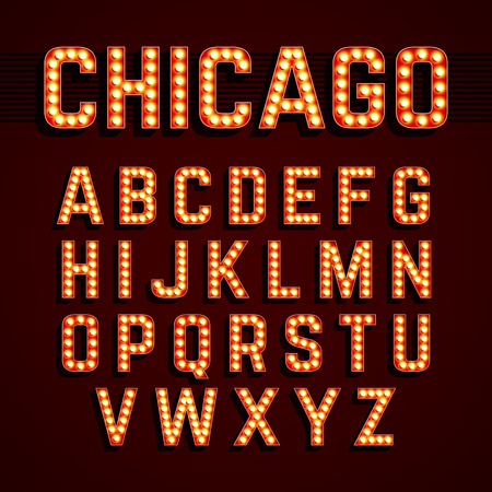 neon: Broadway lights style light bulb alphabet Illustration