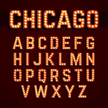 czcionki: Broadway stylu żarówka świeci alfabetu