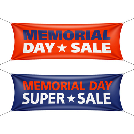 Memorial Day verkoop banners Stock Illustratie