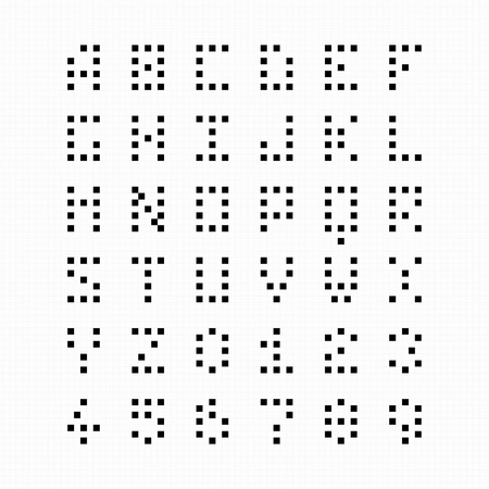 alphabetic: Pixel bit font alphabet and numbers Illustration