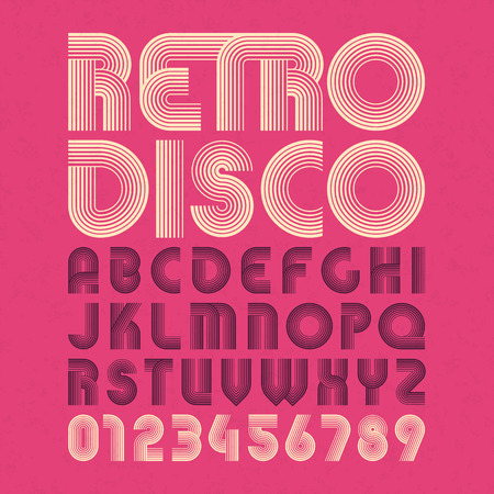 Retro disco style alphabet and numbers