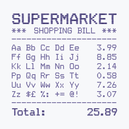 Supermarket shopping bill alphabet and numbers