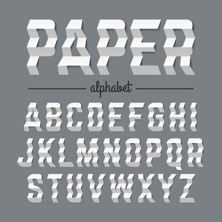 Paper alphabet with zigzag folded letters Illustration