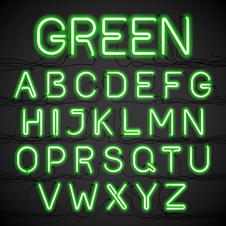 neon glow: Green neon glow alphabet with wires