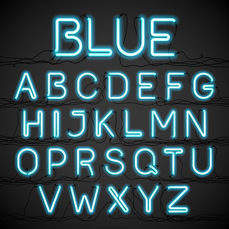 Blue neon glow alphabet with wires