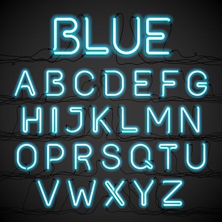 abecedario: Neón alfabeto resplandor azul con cables