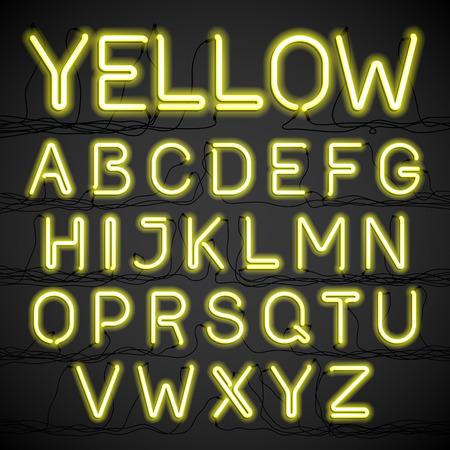 abecedario: Ne�n amarillo alfabeto brillo con cables