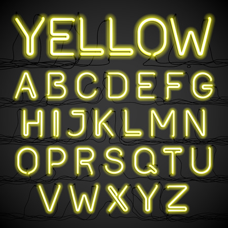 fluorescent tube: Yellow neon glow alphabet with wires Illustration