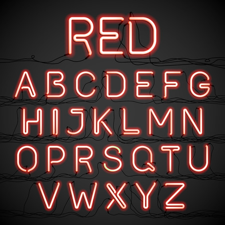 neon glow: Red neon glow alphabet with wires