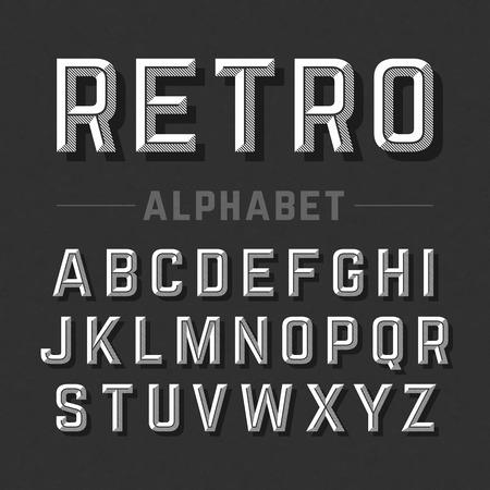 レトロなスタイルのアルファベット  イラスト・ベクター素材