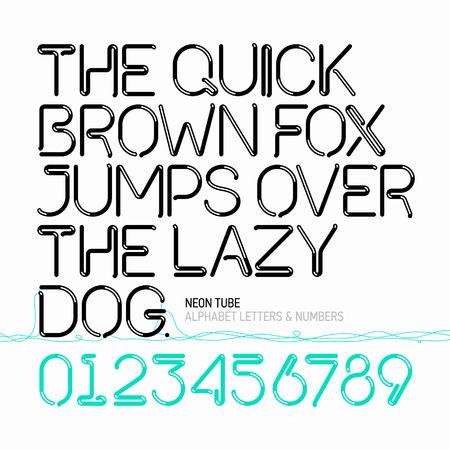 Neon buis alfabet letters en cijfers Stock Illustratie