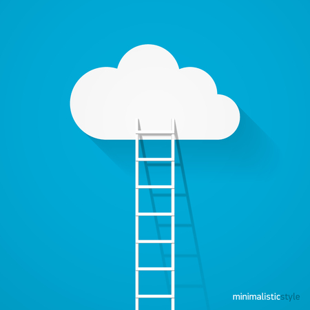 clambering: Ladder leading to cloud minimalistic style
