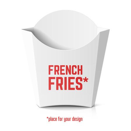 감자 튀김 당신의 디자인에 대 한 흰색 종이 상자 템플릿