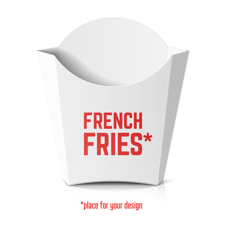 product box: French fries white paper box template for your design Illustration