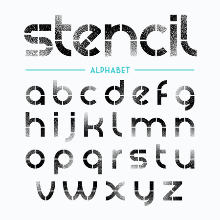 Spray painted stencil alphabet letters