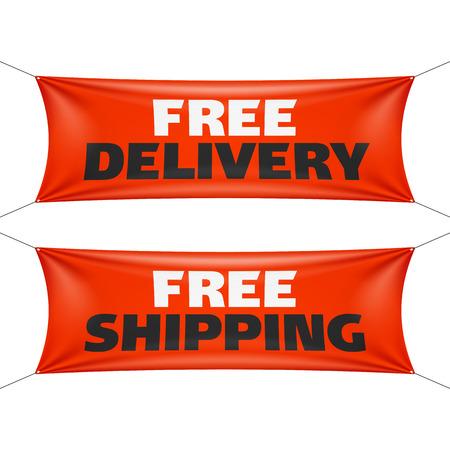 Kostenlose Lieferung und kostenloser Versand Banner Standard-Bild - 41149329