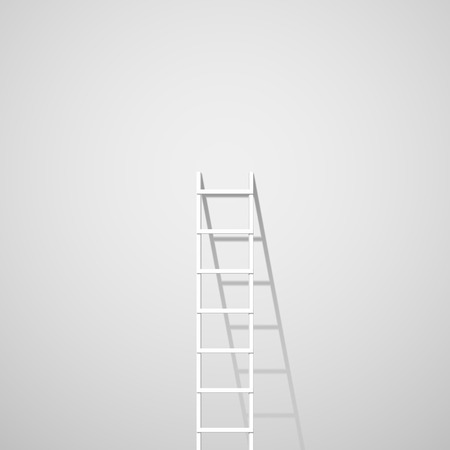 climbing ladder: White ladder against wall