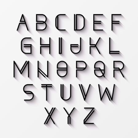 Modern alphabet with shadow Illustration
