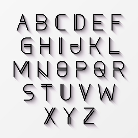 Modern alphabet with shadow Çizim