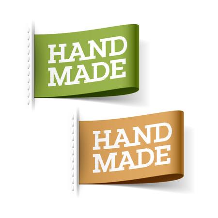 feitas à mão: Etiquetas Handmade Ilustração