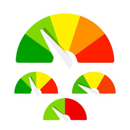 compteur de vitesse: Compteur de vitesse ou de la qualification mètres signes d'éléments de jauge infographie