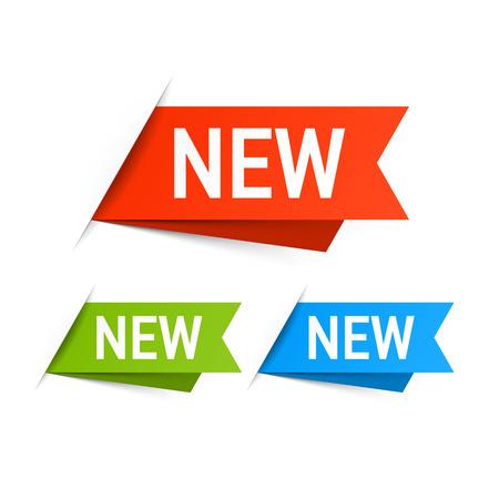 insignias: Nuevas etiquetas Vectores