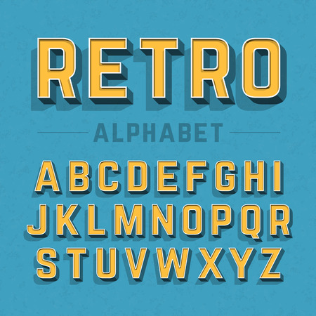 3d alphabet letter abc: Retro style alphabet Illustration