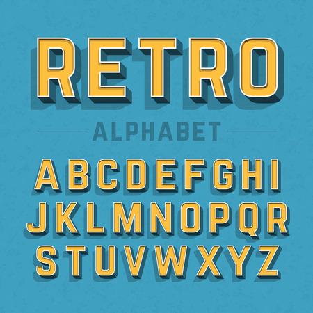 bağbozumu: Retro tarzı alfabe Çizim